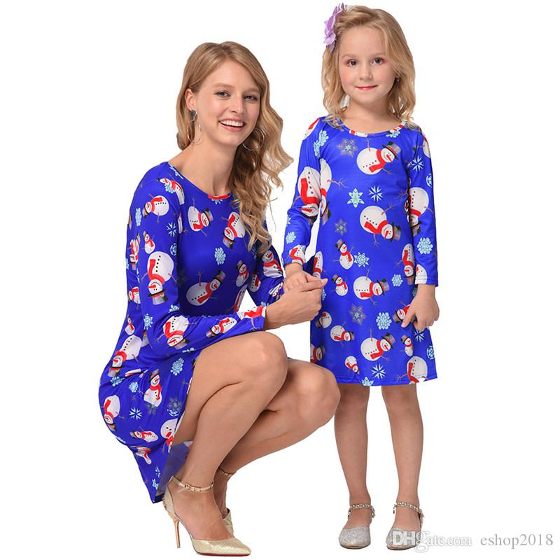 family matching dress outfits mother and daughter matching clothes long sleeve christmas snowmen printed mom and me christmas dresses mommy and son matching