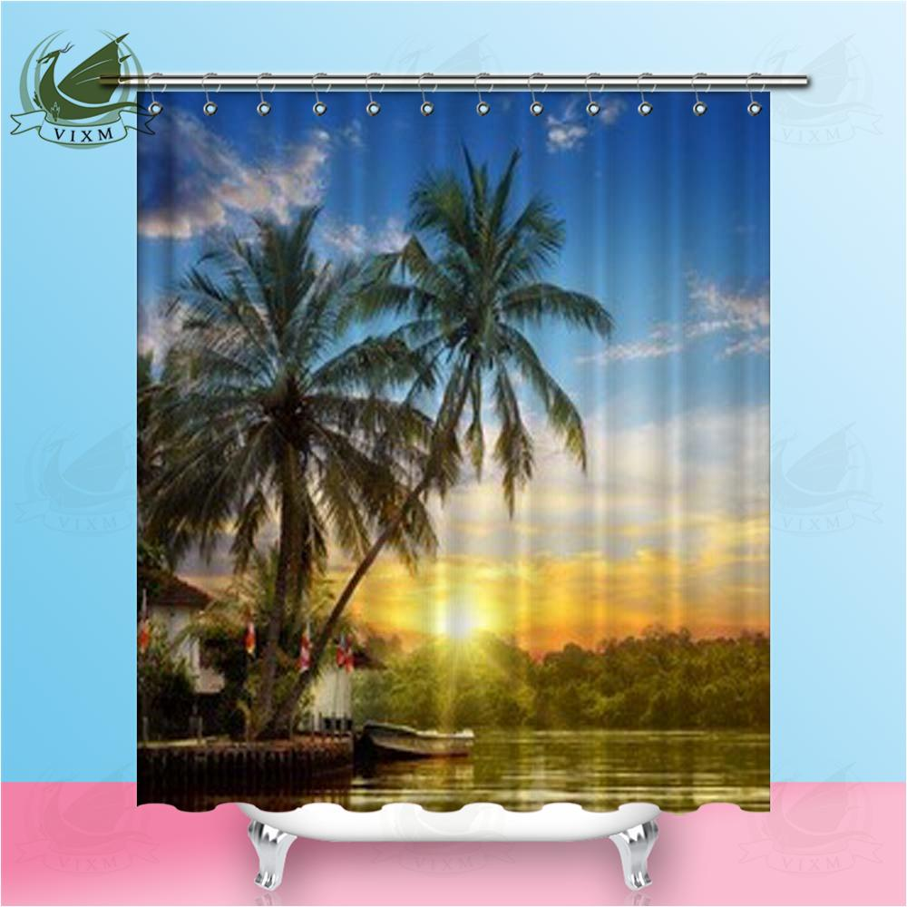 2019 Vixm Beach Evening Sunset Shower Curtains Yellow Rapeseed Flower Waterproof Outside The Window Polyester Fabric For Home Decor From Bestory