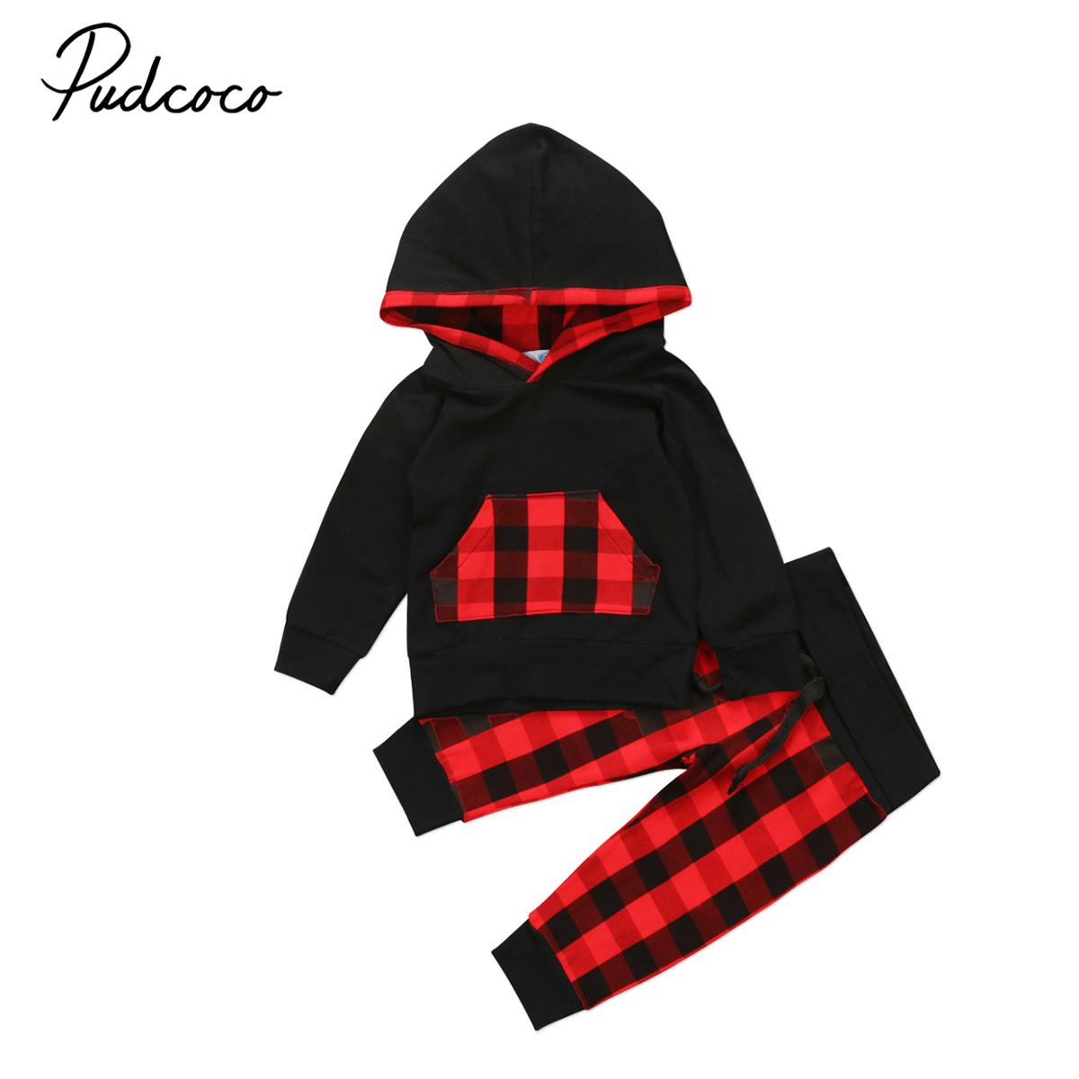 c99bfce76 2019 2017 Christmas Newborn Infant Baby Girl Boy Clothes Hoodies Tops T  Shirt Long Pants Outfits Set Toddler Red Black Plaid Clothing From  Cover3129, ...