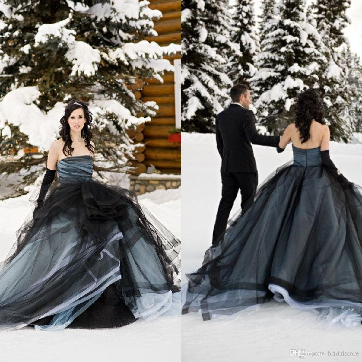 Beautiful Ball Gown Winter Strapless Gothic Wedding Dresses Tulle Plus Size  Cheap Country Bohemian Bridal Gowns Robe De Mariée Uk Sexy Plus Size Wedding  ... fc8d7f223b90