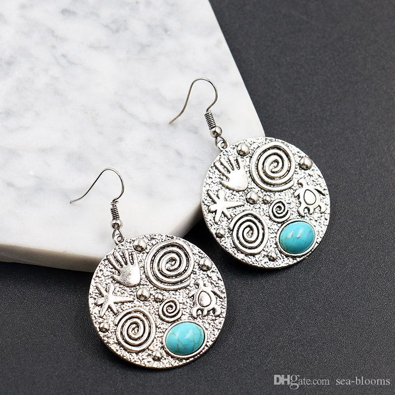 Women Turquoise Alloy Earrings Lady Fashion Coin Tassel Turquoise Earrings Party High Quality Jewelry Gifts Support FBA Drop Shipping G967R