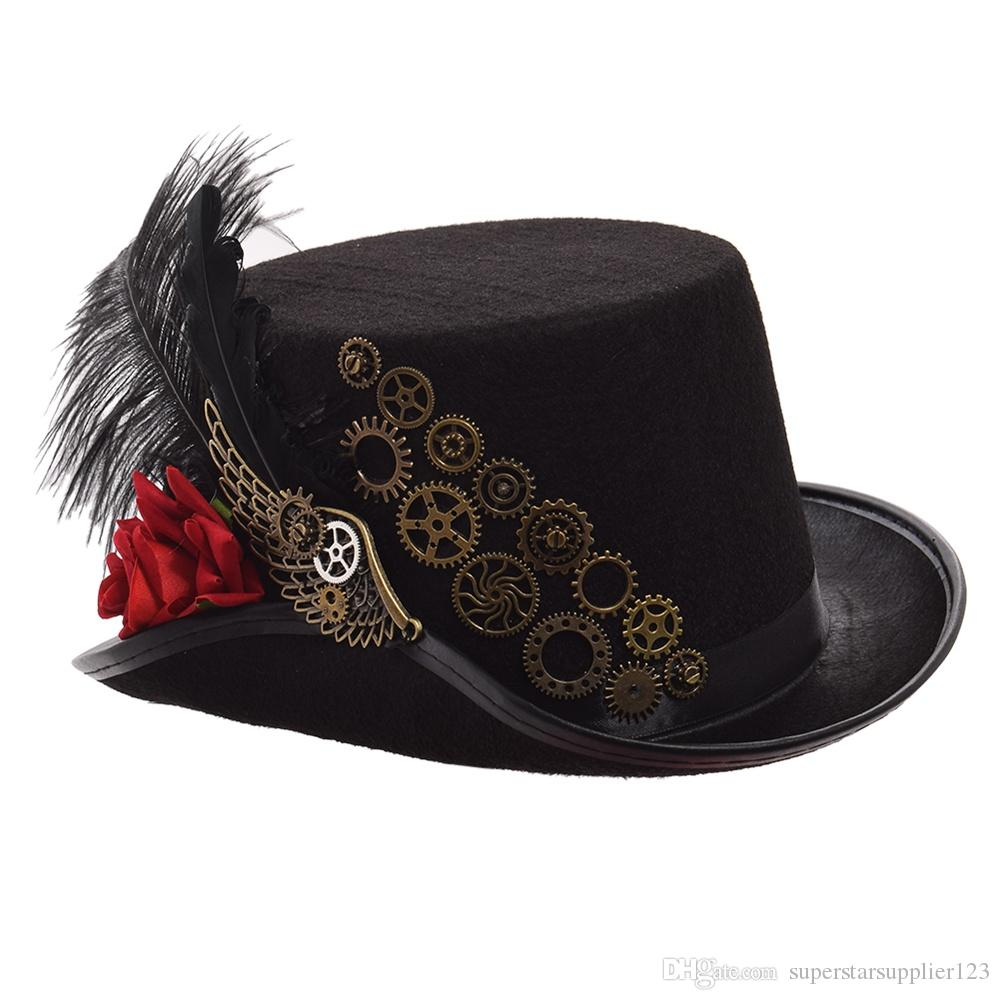 c8bc79553 Steampunk Top Hat Men Women Black Rose Gears Feather Fedora Vintage Cosplay  Head Wear 58cm/61cm