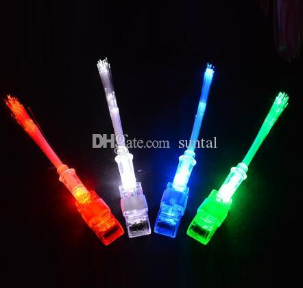 Cheep Optical Fiber LED Bright Finger Ring Lights Rave Party Glow Kids Toys Party Favor Gifts