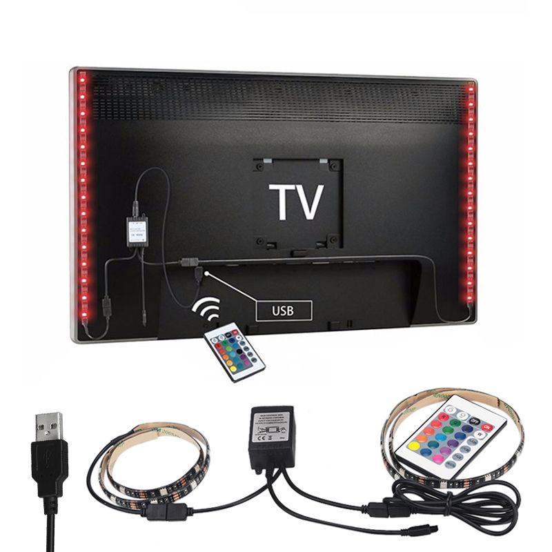 2X50cm USB RGB LED Strip 5050 SMD Waterproof Flexible LED Backlight TV Kit Flat Screen LCD Desktop Computer LED TV Backlighting