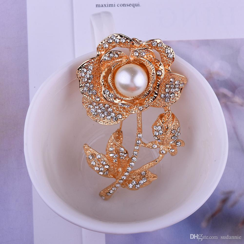 i-Remiel luxurious Pearl Cubic Zirconia Brooch Collar Enamel Brooch And Flowers Brooches Safety Pin Gifts For Guests Women