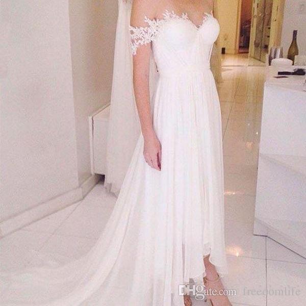 Discount Elegant High Low Wedding Dresses Off Shoulder