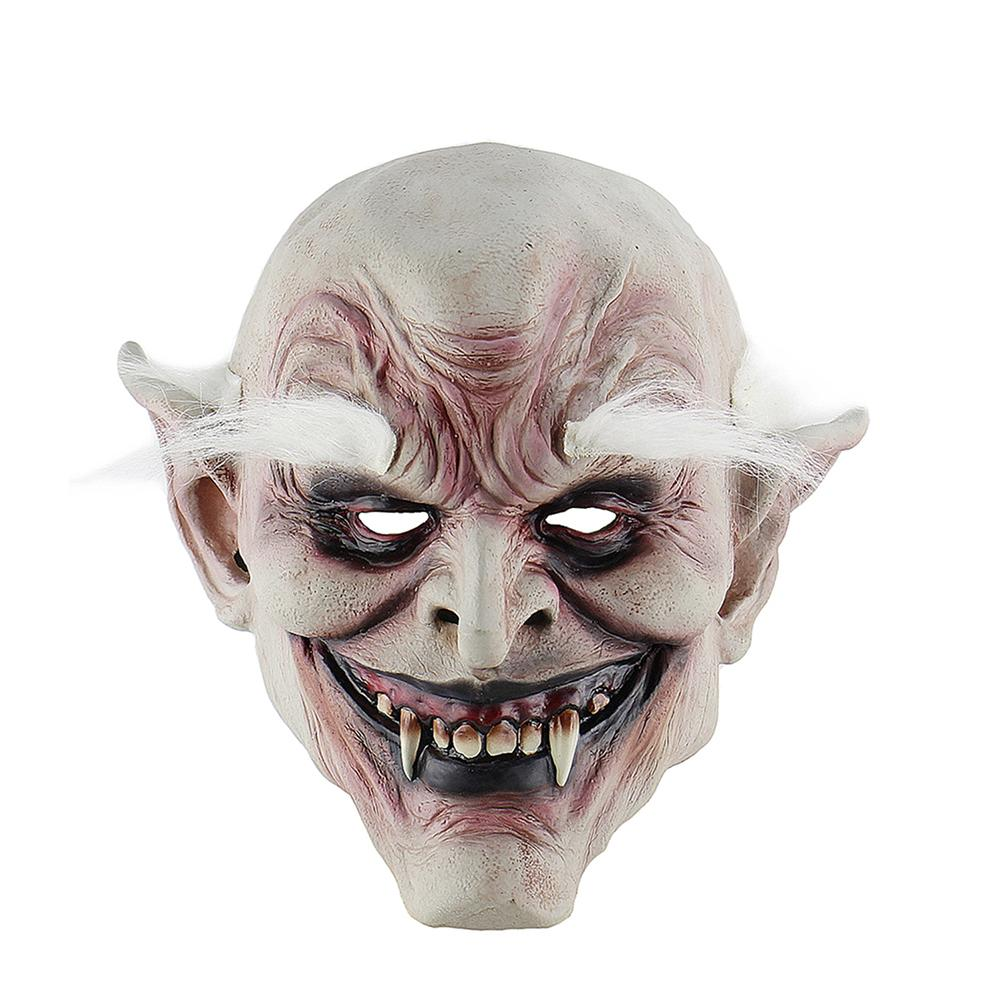 Halloween Scary Creepy Horrible Realistic Ghastful White Eyebrows Ghost Mask Party Props Masquerade Supplies Cosplay Costumes