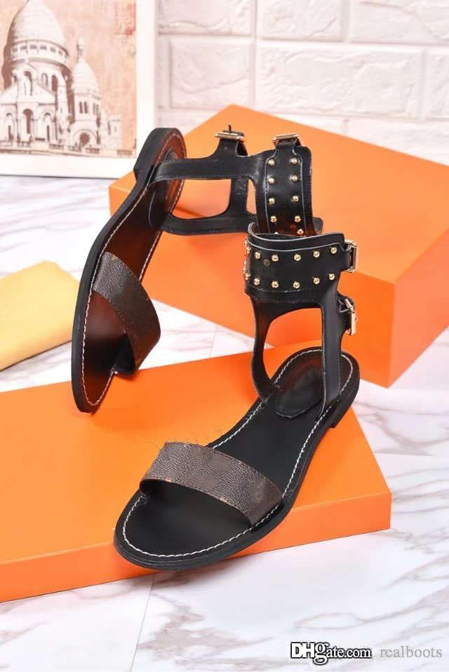 1e76cfd639e40 2018 New Appival Top Quality Genuine Leather Luxury Comfortable Fashion Women  Flat Heel Rivets Buckle Strap Sandals Casual Sandals Sandals Online with ...