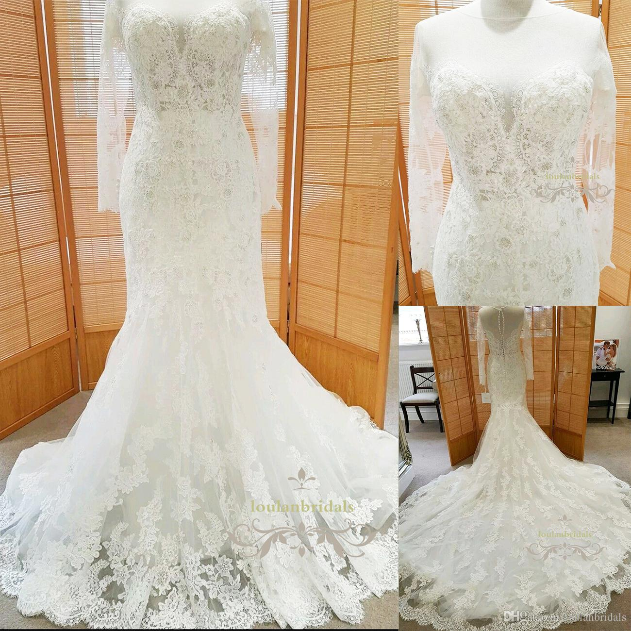 Fit N Flare Long Sleeves Wedding Gown Illusion Jewel Mermaid Train ...