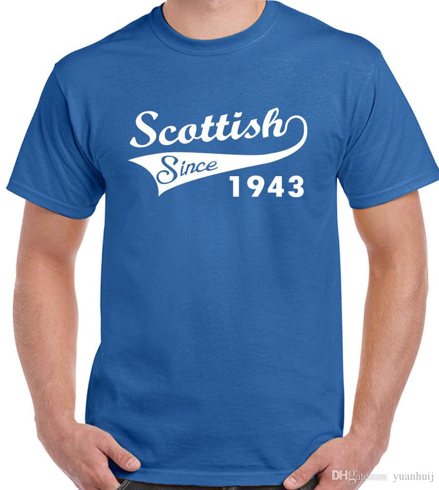 Scottish Since 1943 Mens Funny 75th Birthday T Shirt Rugby Football Flag Shirts Cheap From Yuanhuij 1118