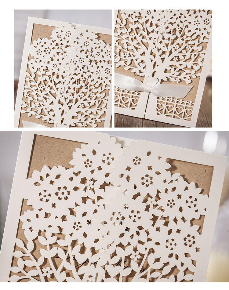 Свадебные приглашения карты персонализированные свадебные invitaiton карты бумаги полые индивидуальные дома, перемещение партии в карты с конверт и печать