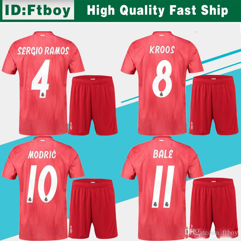 best service d31fd 51aec Real Madrid 3rd Soccer Jersey suit 18/19 Real Madrid red Soccer Shirt adult  kit #11 BALE #22 ISCO ASENSIO football uniform jersey shorts