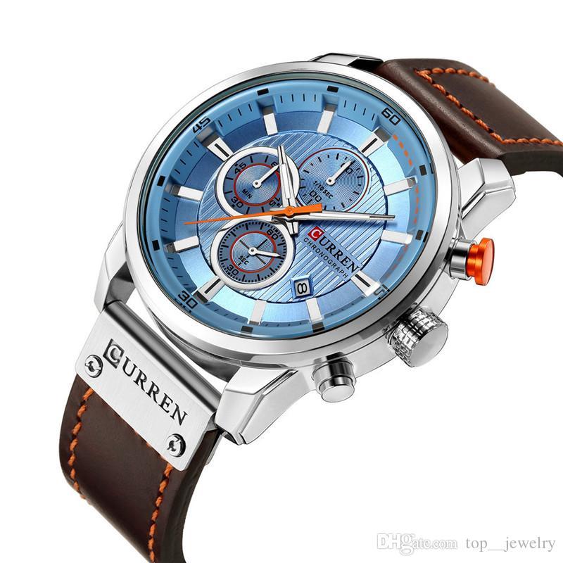f752506b924 Compre Alta Qualidade Marca De Luxo CURREN Moda Pulseira De Couro De  Quartzo Homens Relógios Casuais Data De Negócios Masculino Relógios De Pulso  Relógio ...