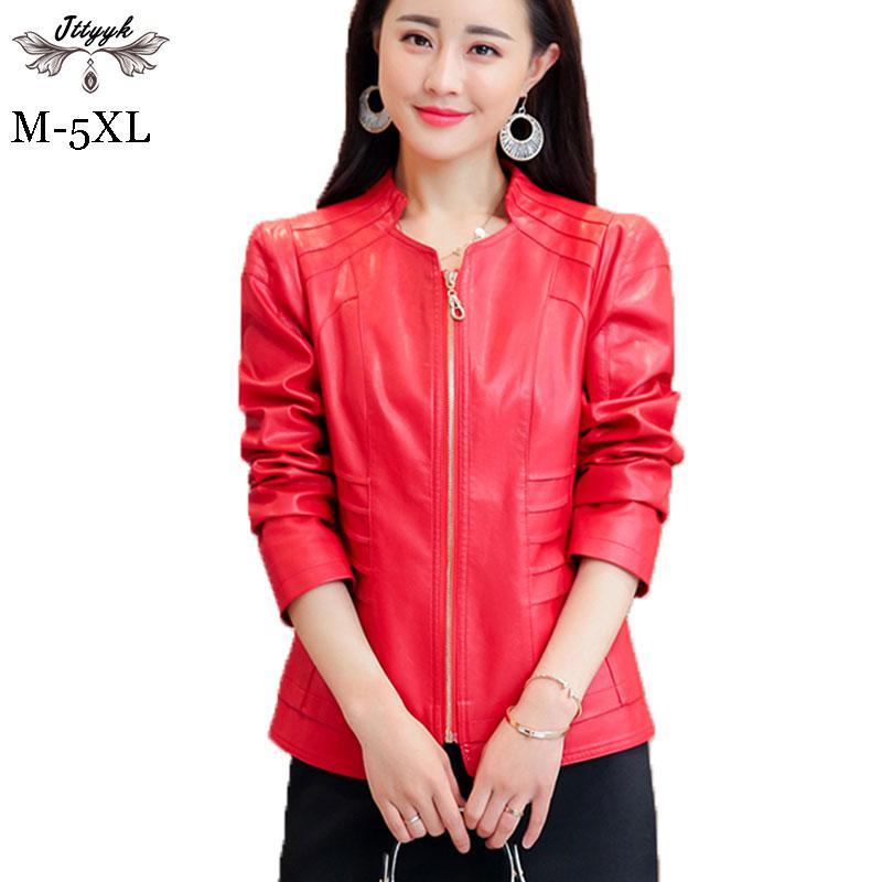 0550ea2f67e 2019 5XL Plus Size Suede Leather Jacket Women Spring 2018 Autumn ...