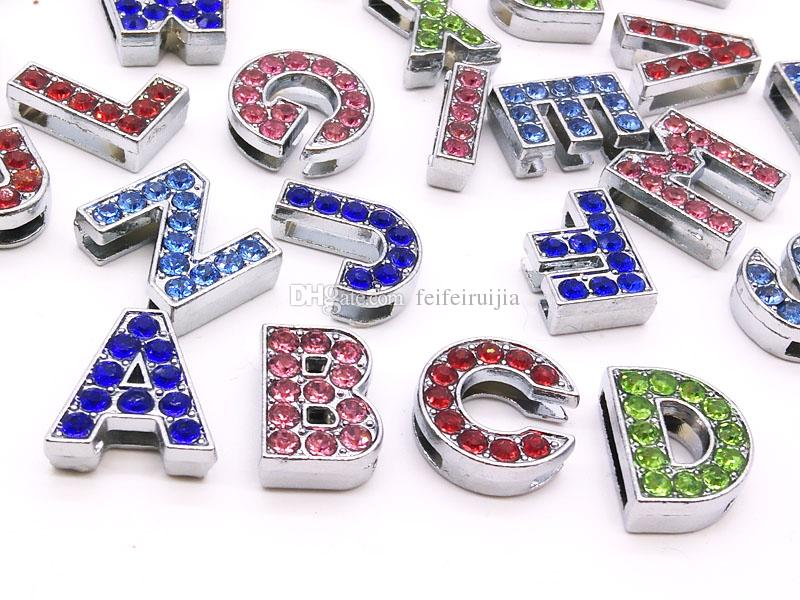 10mm colour full rhinestone slide letters A-Z diy charms fit 10mm Wristbnad Bracelets women Ribbon accessories wholesale