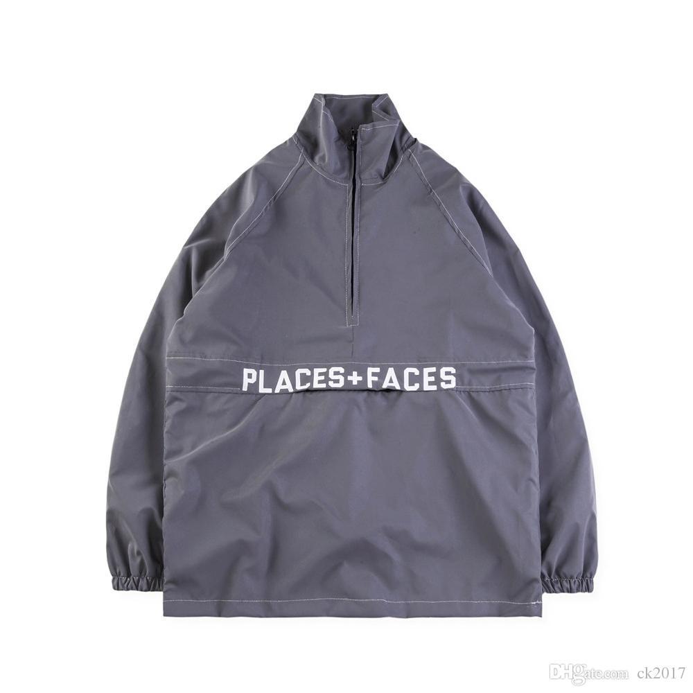 18ss new places faces letter print half pull lapels jacket men s