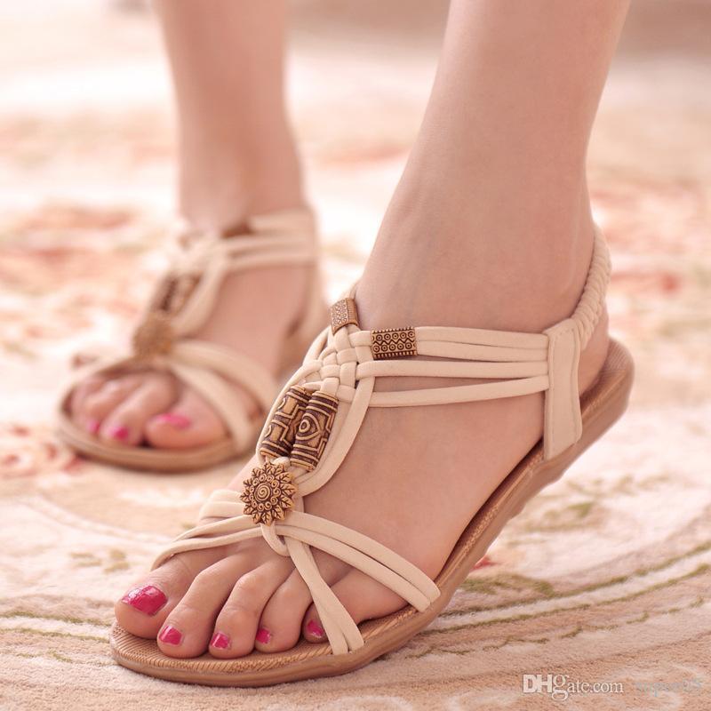 fcbae330 Compre 2018 Mujeres Sandalias Tallas Grandes 36 42 Zapatos De Verano Mujer  Chanclas De Moda Zapatos De Mujer Sandalias Mujer Negro Beige A $6.47 Del  Super05 ...