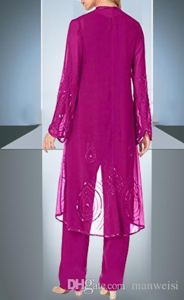 Chic Fuşya Anne Gelin Pant Suit 3 Parça Ile şifon Örgün anneler Önlük Ceket Boncuklu Özel Durum Artı Boyutu Anneler Giymek