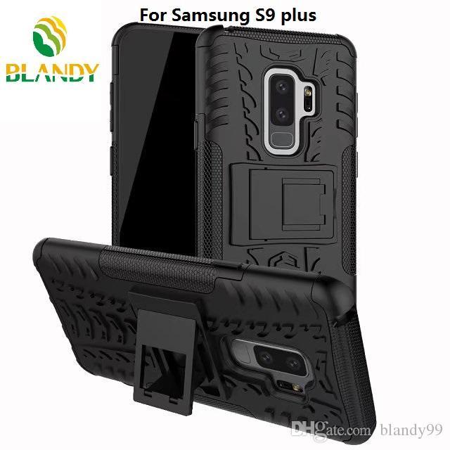 para samsung galaxy S9 plus 2 en 1 Comb Armor Hybrid TPU + PC Funda de soporte de la cubierta dura Soporte para samsung J2 pro 2018