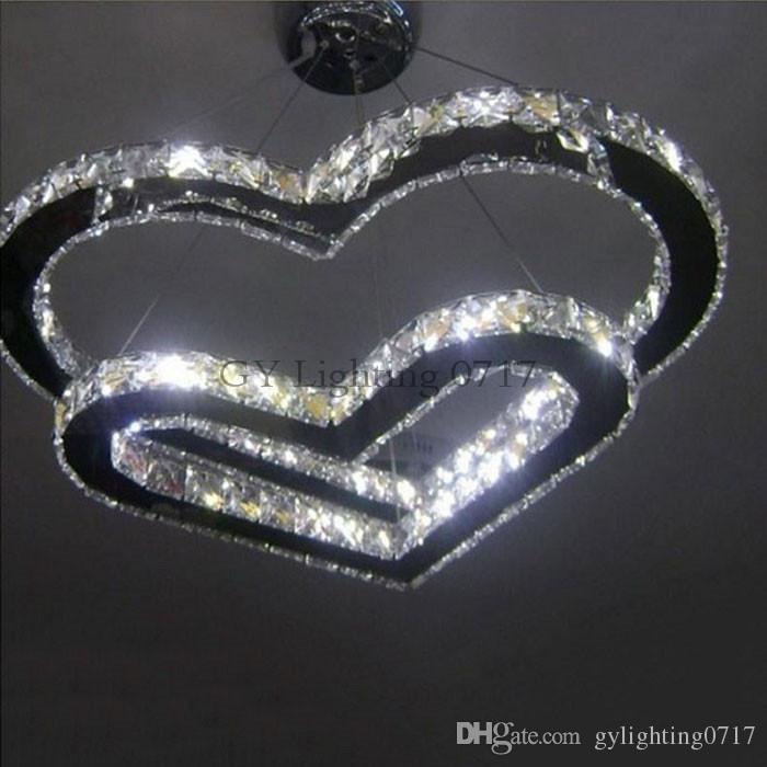 AC100-240 Moderne Cristal LED Lustre Plafond Suspension Éclairage 42W Luminaire Double Forme De Coeur de mariage décoration