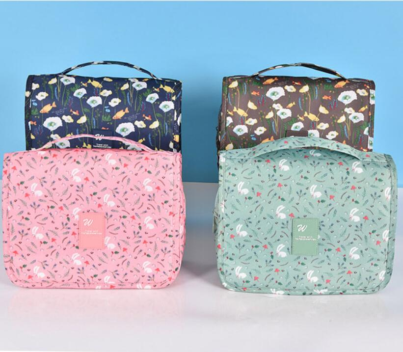 8c32a311849d travel organizer bag Floral women cosmetic bag hanging travel makeup bags  washing toiletry kits storage bags