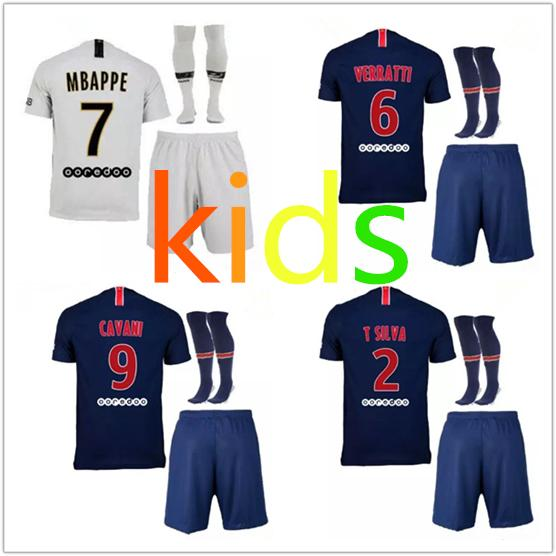 87ff71b8227 2019 2019 Kids Kit PSG Home Soccer Jersey 18 19  7 MBAPPE Blue Soccer Shirt   9 CAVANI Saint Germain Football Uniform 2018 Kids From Mbappe1108