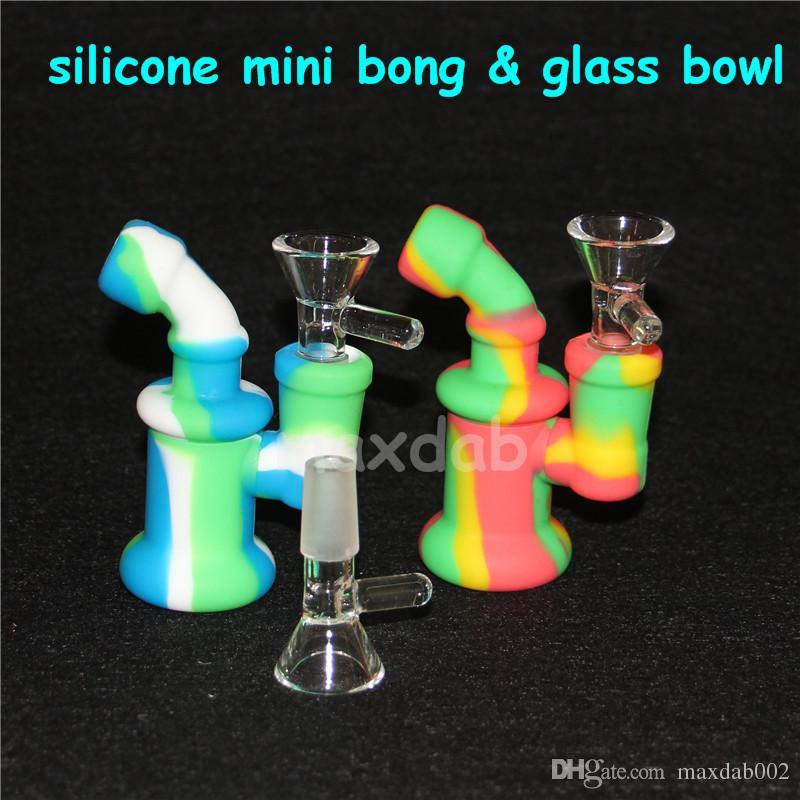 Силиконовые водопроводные трубки Bong Силиконовые буровые установки Мини-кальянные барботер-бонги Бесплатная стеклянная чаша для сбора нектара dabber tools 5 мл силиконовый контейнер