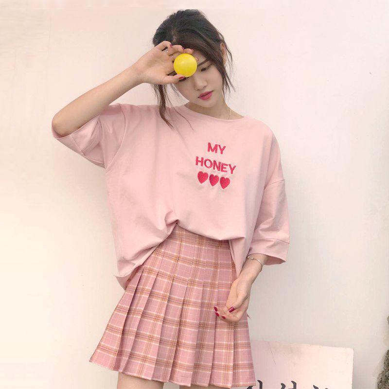 Korean Style Female Pink T Shirt Casual O Neck Short Sleeve Letter