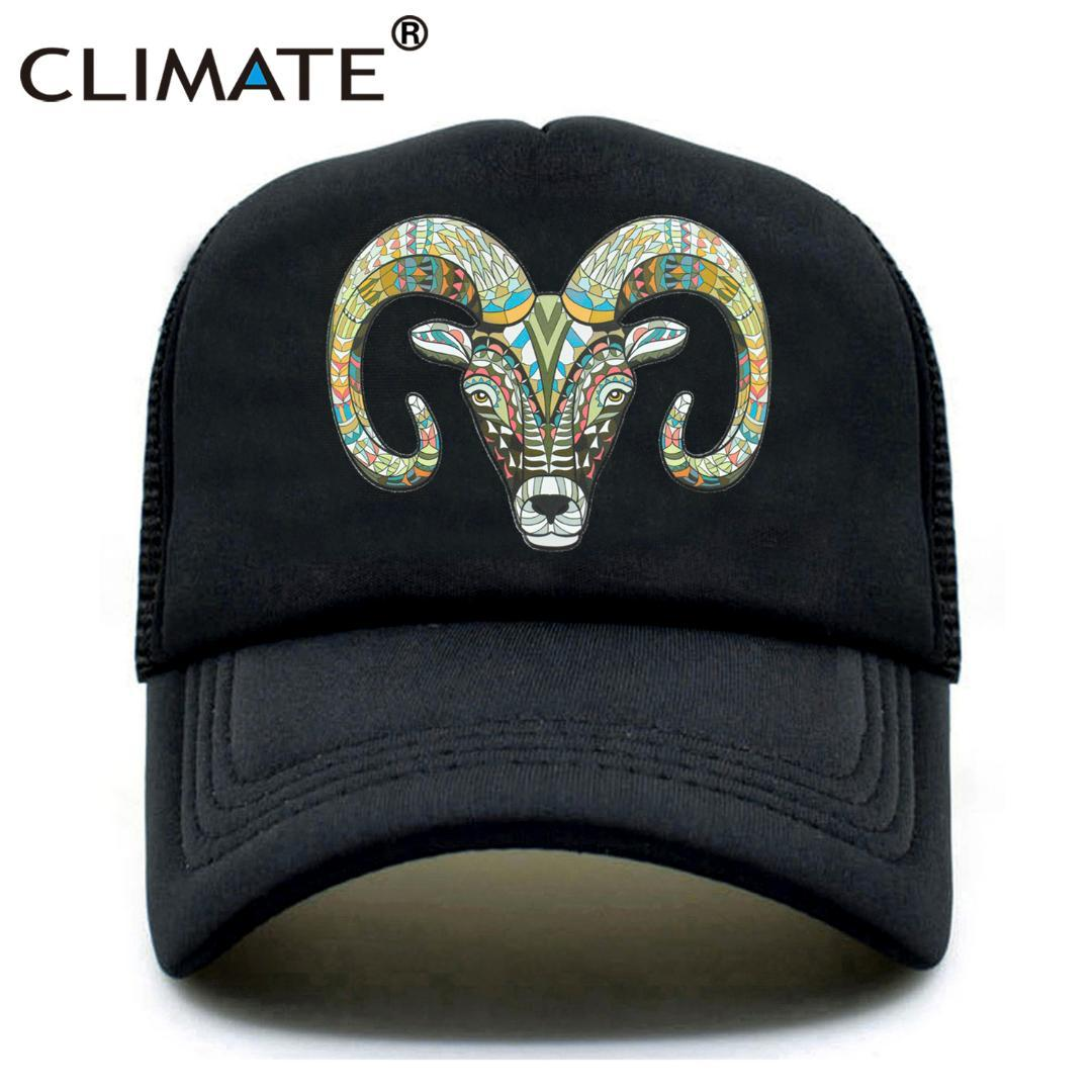 780ad02159d CLIMATE Goat Trucker Caps Hat Women Men Cool Goat Head Hat Cap Hip Hop  Summer Colorful Mesh Baseball Cap For Men Women Youth Fitted Cap Baseball  Caps For ...