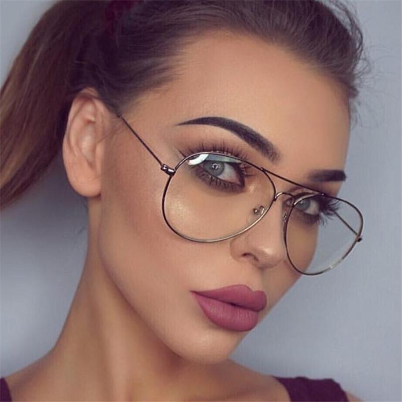 5e83c094cabaf Compre Marca De Luxo Óculos De Piloto Óculos De Armação De Metal Clássico  Óptica Óculos Transparentes Limpar Lens Mulheres Homens Olho Ler Óculos De  ...
