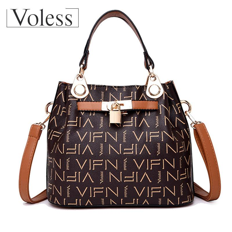 44eb32ae5a20 VOLESS Luxury Handbags Women Bag Designer Vintage High Quality PU Leather  Women Tote Bags Letter Printing Bags For 2018 Duffel Bags Ladies Purse From  Serady ...