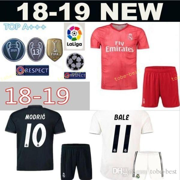 new concept 71dcf ef384 FC Real Madrid 2018 2019 Soccer Champions 9 Karim Benzema Jersey White 17  Lucas Vazquez 2 Dani Carvajal Football Shirt Kits With Short