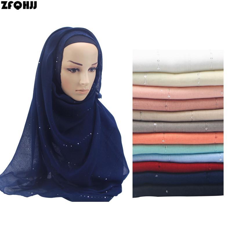 57749f9200e Acheter ZFQHJJ 2018 Nouvelle Arrivée Coton Hijab Écharpe Pour Femmes  Glitter Shimmer Musulman Dame Hijabs Turban Tête Foulards Cheveux Châle  Foulard De ...