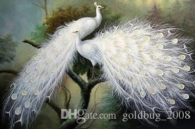 hand-painted oil painting beautiful white peacock art deco paintingno framed