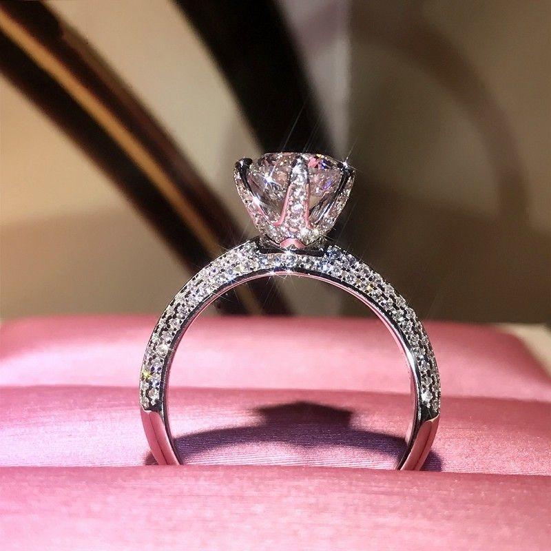 Sparkling Victoria Brand Desgin Luxury Jewelry Pure 100% 925 Sterling Silver Round Shape White Topaz CZ Diamond Women Wedding Pave Band Ring
