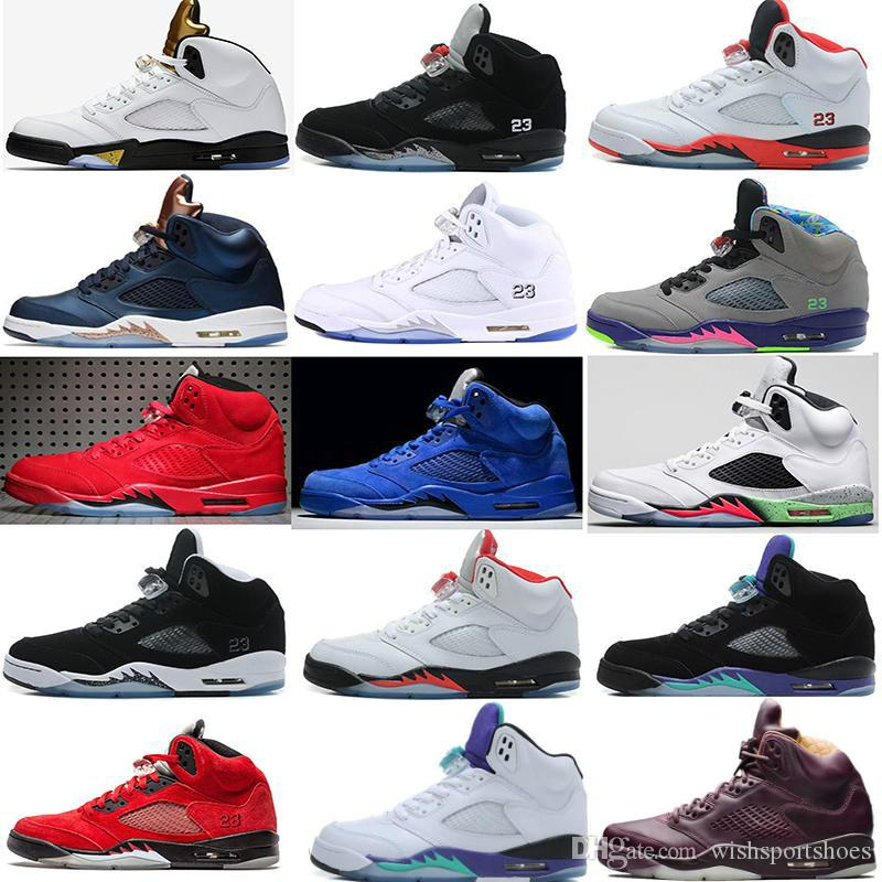 4845c03014d2 High Quality 5 5s Black Metallic 3M Reflect Black Grape Oreo Basketball  Shoes Men 5s Red Suede CDP White Cement Sneakers Without Box Basketball  Shoes Men ...