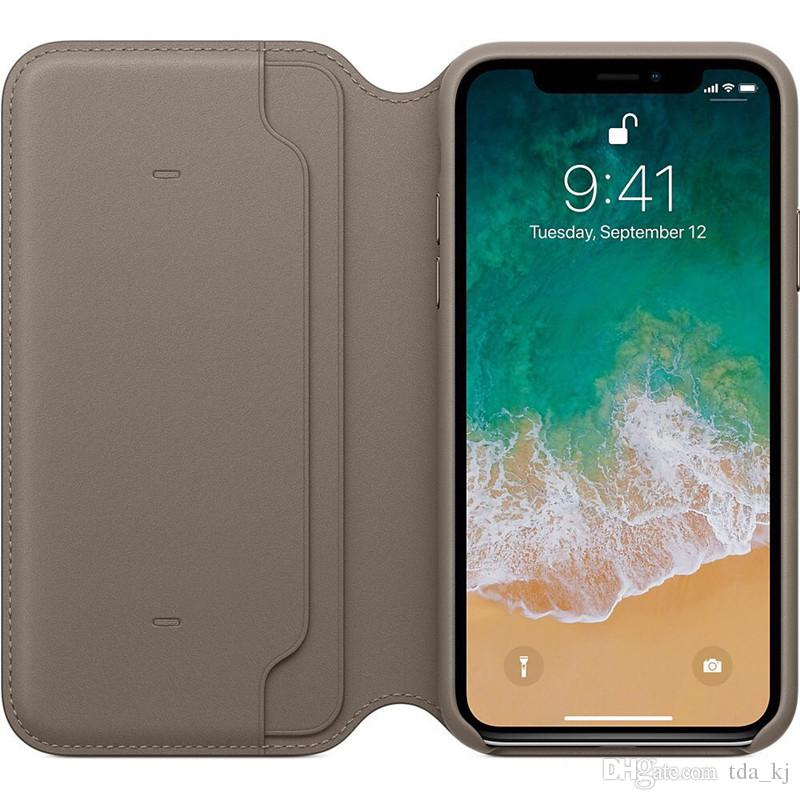 pretty nice baaf5 82302 Original Leather Folio Wallet Case with Logo for iPhone X Official Flip  Smart Phone With Card Slot Cover for Apple iPhone X 8 7 6 6S Plus