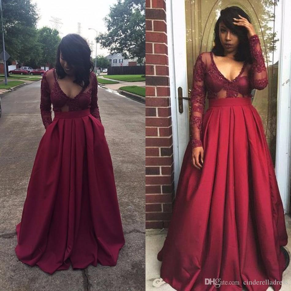 1727cc3c68a70 Wholesale top african fashion dresses for sale - Burgundy Long Sleeve Evening  Dresses Elegant Deep V