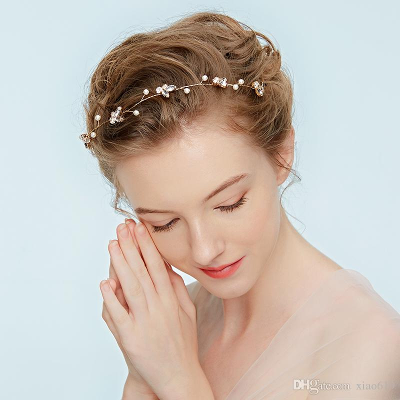 Grosshandel Einfache Kristall Gold Silber Haar Rebe Braut Kranz
