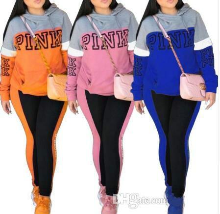 2c2c1211829 2018 Pink Print Set Women Pant And Top Autumn Plus Size Casual ...