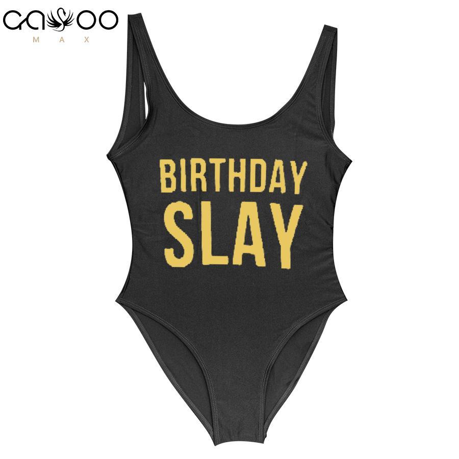 32902ce33b 2019 Birthday Slay Golden Letter One Piece Swimsuit Girl Swimwear Women  High Cut Bathing Suit Plus Size Monokini Sexy Beachwear Femme From  Wangleme0