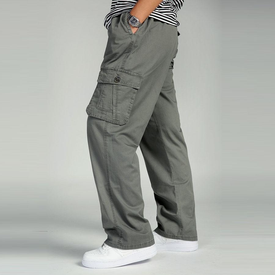 Grandes De Largo De Casual Compre Cintura Bolsillo Tallas Hombre Algodón  Carga Elástica Hombres Hombres Grandes Multi Pantalones ... 40940d29e1f9