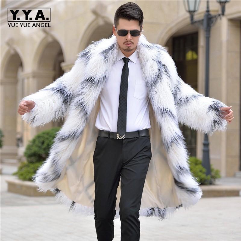 78b80aef8b9c 2019 2017 Men Winter White Fur Coat Long Sleeve Faux Wool Fur Outerwear  Casual Coats Plus Size 3XL European Fashion Business Jaqueta From Dayup