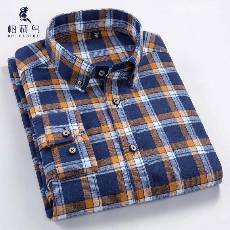 478d3526526 Men s Long Sleeve Plaid Checked Flannel Shirt with Pocket Slim-fit  Comfortable Soft 100% Cotton Smart Casual Button-down Shirts