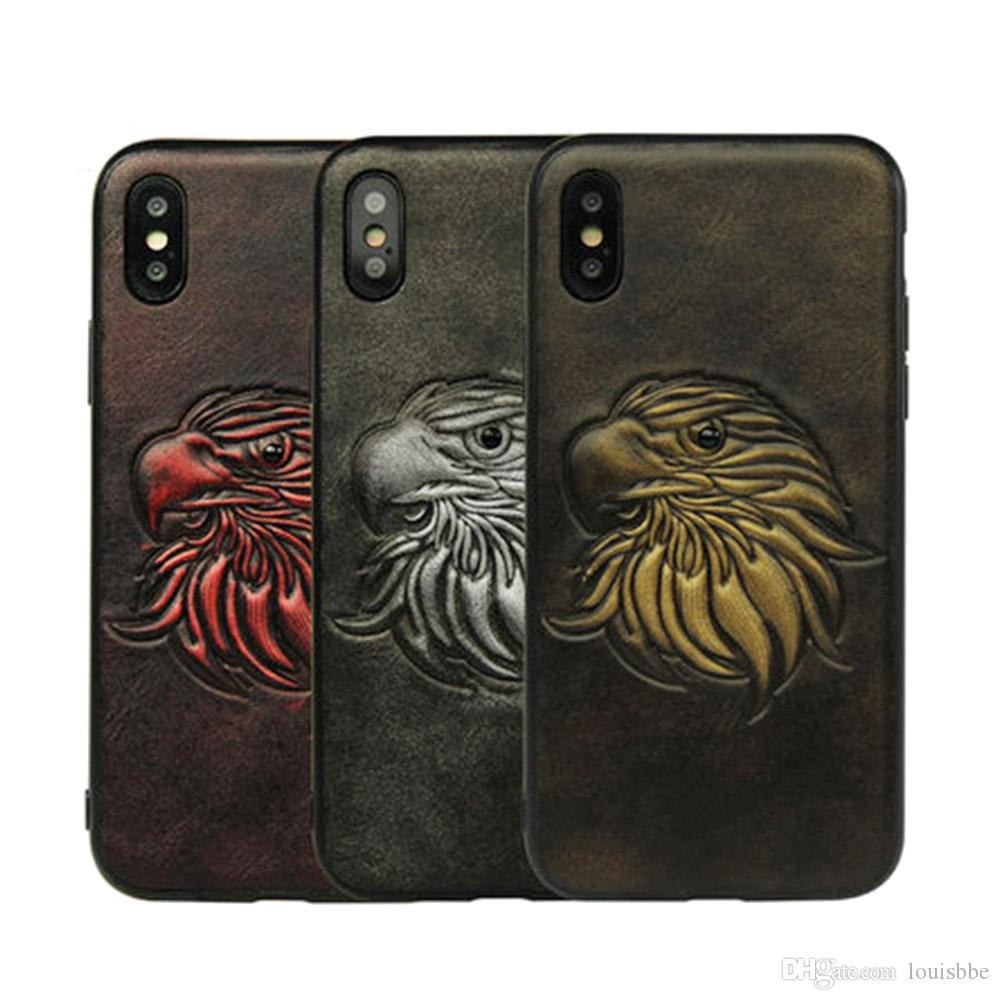 New 3D Retro Leather Case for Iphone 6s 7 8 Plus Eagle,parrot,Tiger Head,pirate,fishbone for Iphone X Vintage Back Cover