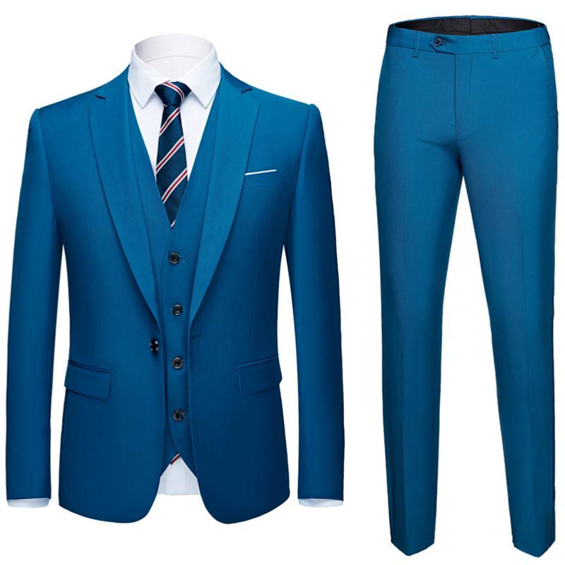 87ae101a7b Compre Homens Terno 3 Peças Blazers + Calça + Colete Social Terno Homens  Moda Sólida Conjunto De Negócios Casuais Ternos Formale Plus Size S 6XL De  Donahua