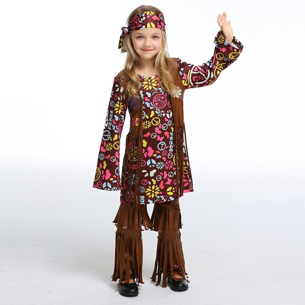 7c2ddc06d Disfraz de hippie bohemio y disfraces de Hippie Bohemia de los años 60 para  niñas
