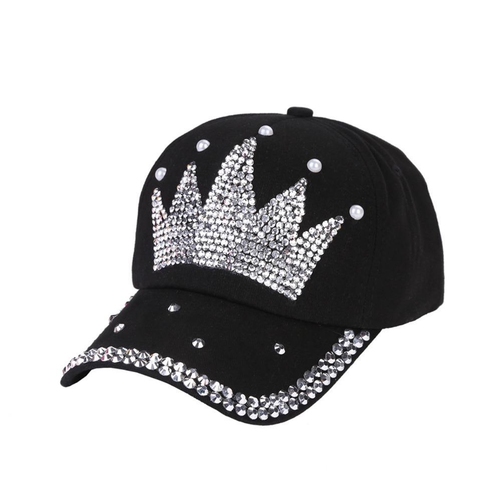 e673c41bb52 Women New Fashion Baseball Cap Hats Handmade Rhinestone Beads Hat Pearl  Crown Female Baseball Cap Snapback Sports Sun Hat Cap Shop Flexfit Caps  From ...