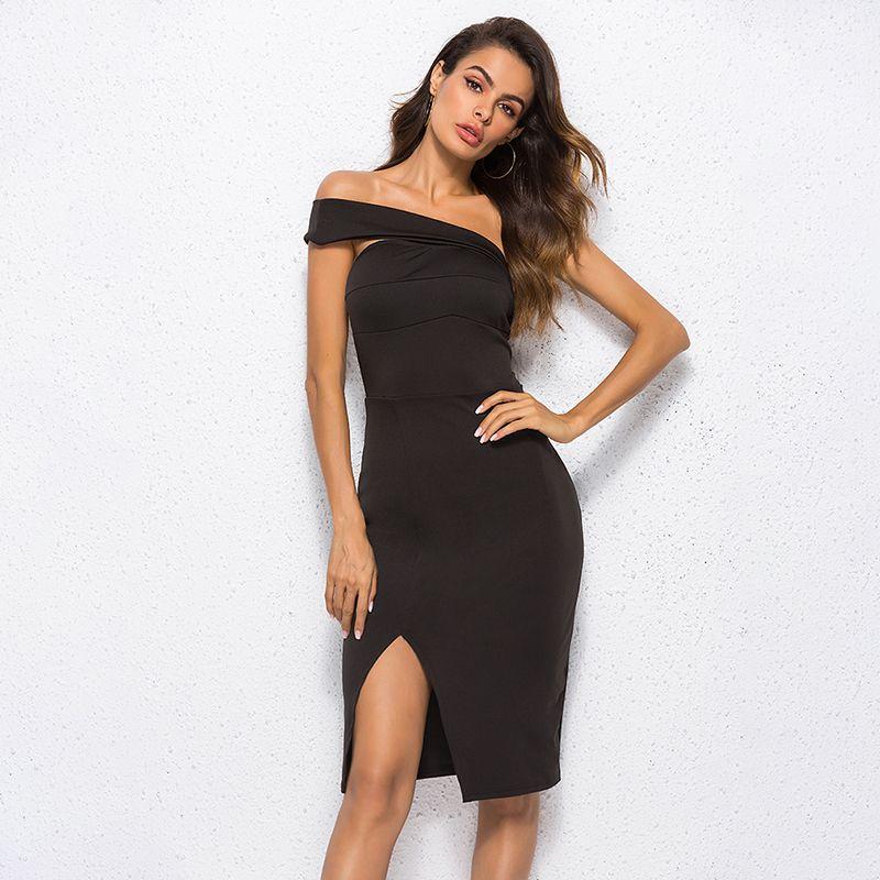 fda942c7d0bd9 Black Knee Length Summer Dress Sexy Off the Shoulder Asymmetrical Sheath  2018 Women Elegant Solid Slash Neck Dress Plus Size