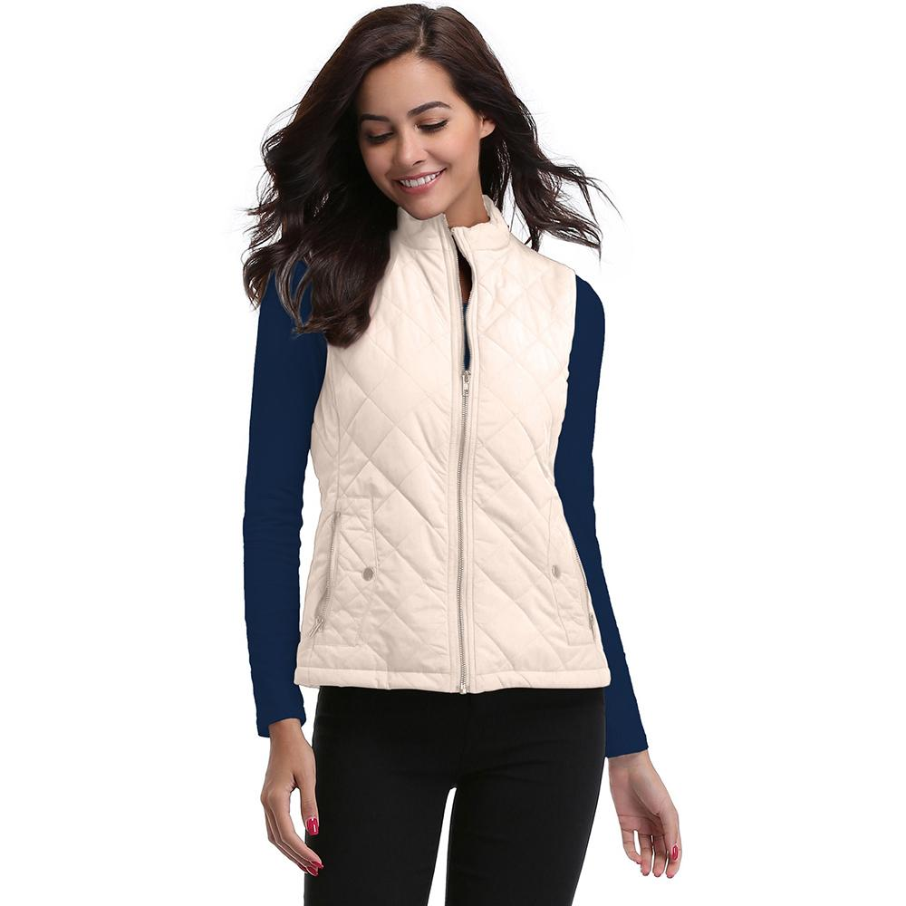 Women's Sleeveless Cotton Warm Jackets Zipper Stand Collar Lightweight Quilted Casual Ladies' Polyester Red Vest Coat Autumn